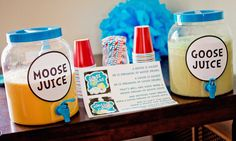 Dr. Seuss Birthday ideas Moose Juice and Goose Juice