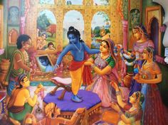 Krishna getting dressed by His mother