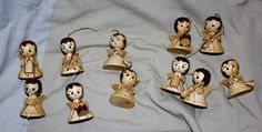 lot of 11 vintage miniature wooden Angels musicians