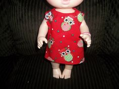 Baby 12 inch Alive doll handmade dress red with Christmas owls on it by sue18inchdollclothes on Etsy