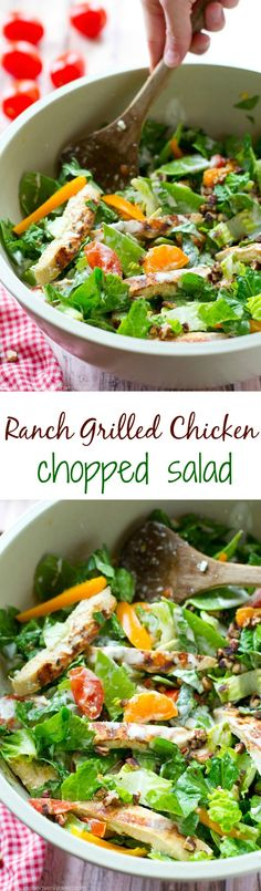 Grilled ranch-marinated chicken, a rainbow of fresh veggies and lots of ranch dressing collide in this simple, flavor-loaded chopped salad. ---soon to be your new favorite summer salad! Sandwiches, Salad Dishes, Cooking Recipes, Healthy Recipes, Healthy Meals, Healthy Food, Marinated Chicken, Grilled Chicken Salad, Soup And Salad