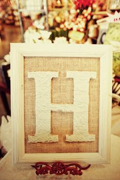 DIY frame with burlap backing and a letter covered in lace.