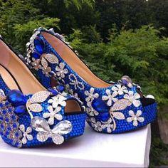 Luxury Peacock Blue floral Diamond Bridal Weddding Shoes high heels  rhinestone platform Prom pumps free shipping 92a054f6b8f3