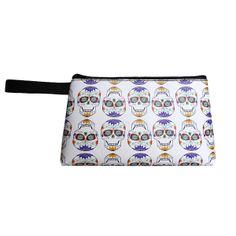 Neceser pequeño estampado Calavera Mejicana de Arethaju por DaWanda.com #neceser, #calaveramejicana, #skull, #neceserplaya, #bolsodemano, #arethaju