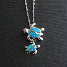 Blue Fire Opal Swimming Sea Turtle Necklace
