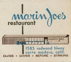 Matchbook cover, Marin's Joe's Restaurant, Corte Madera, California, c.1955