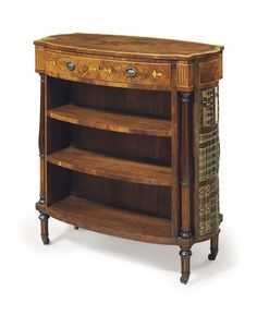 AN ENGLISH MAHOGANY DOUBLE-SIDED BOOKCASE -  LATE 19TH/20TH CENTURY.