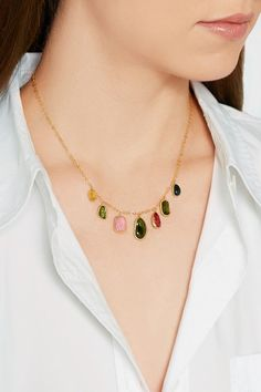 Pippa Small | 18-karat gold tourmaline necklace | NET-A-PORTER.COM