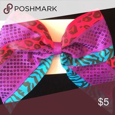 """FREE!! Pink Purple Leopard Zebra Sequin Cheer Bow One FREE with any purchase!  Just add bow to bundle with the item(s) you are buying. Make offer for $5 less than bundle price.  OR- let me know and I will make special listing for you.  Bow has elastic and is approx 6"""" x 9"""". Accessories Hair Accessories"""