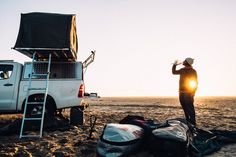 O'Neill team surfer Damien Castera on a road trip in Namibia. Photo by Sergio Villalba.