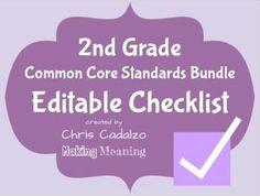 Common Core Math Standards/ Common Core ELA Standards Editable Checklist- second grade common core math and ELA standards- get organized- editable excel spreadsheet $