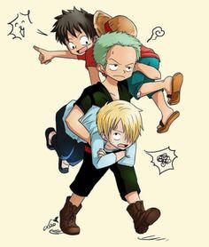 One Piece, Strawhat Pirates, Luffy, Zoro, Sanji