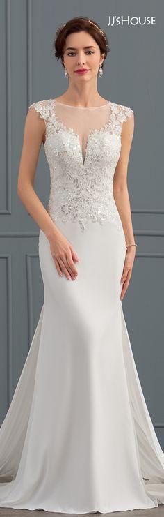Mermaid Scoop Neck Chapel Train Satin Wedding Dress With Sequins #JJsHouse #Wedding dresses