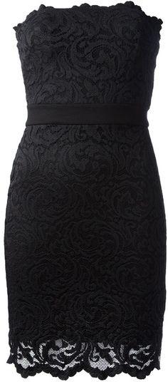 Velvet Black Honee Strapless Lace Dress