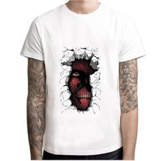 93560df01 Attack On Titan t shirt men Summer print T Shirt boy short sleeve with white  color Fashion Top Tees