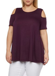 Plus Size Cold-Shoulder Top with Asymmetrical Hem