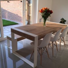 Handmade dining set - steel & timber table with benches -You can find Steel and more on our website.Handmade dining set - steel & timber table with benches - Timber Table, Diy Dining, Kitchen Table Oak, Kitchen Table Settings, Dinning Room, Bench Table, Wood Table, Home Decor, Dining Room Table