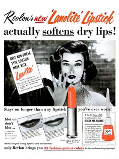 Revlon new Lanolite Lipstick actually softens dry lips...stays on longer than any lipstick you'v ever worn! #lipstick #1950s #fifties #vintage #ad #makeup #cosmetics