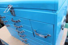 Vintage 10 Drawer Craftsman Machinists Tool Box Locking Blue Chest Toolbox