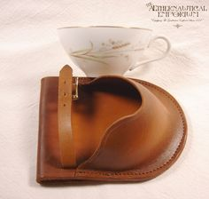 Golden Brown Leather Teacup Holster with Vintage Teacup  LAST of the Pre-Holiday Pieces