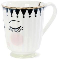 Miss Étoile Eyes & Dots Ceramic Mug with Handle ($16) ❤ liked on Polyvore featuring home, kitchen & dining, drinkware, ceramic mugs, footed mug, dot mug, face mug and polka dot mugs