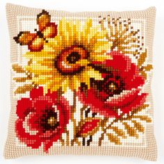 Poppies and Sunflowers - Kruissteekkussen - Vervaco
