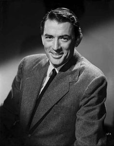 Gregory Peck smiling Posed wearing Black Suit Portrait High Quality Photo