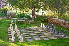 The backyard. Checkers table, and substantially larger chess board. Board games are terribly underrated.