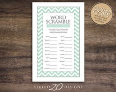 Instant Download Mint Chevron Word Scramble by Studio20Designs, $1.75