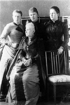 Grand Duchess Alexandra Iosifovna of Russia with her daughters (Vera and Olga) and daughter-in-law (Elizabeth Mavrikievna)