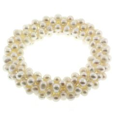 Beautiful Elastic White Color Cultured Freshwater Pearl Cluster Strechy Bracelet ** Click on the image for additional details.(This is an Amazon affiliate link and I receive a commission for the sales)