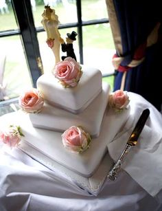 White wedding cake with pink roses by Genuine Cakes