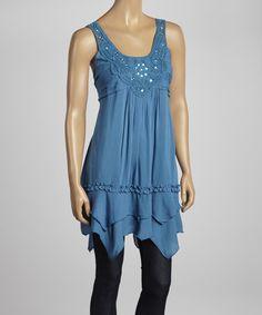 Denim Blue Ruffle Crochet Embellished Sleeveless Tunic