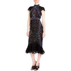 Erdem Philomena Cap-Sleeve Lace Midi Dress ($5,075) ❤ liked on Polyvore featuring dresses, black, women's apparel dresses, flared dresses, lace midi dress, midi cocktail dress, ruffle dress and lace cap sleeve dress