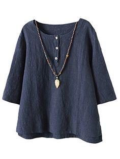 2f5eb81b86c Vogstyle Women's New Cotton Linen Tunic Tee Shirt Jacquard Tops Navy L. UK t  shirts