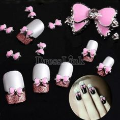 10x Pink 3D Alloy Rhinestones Nail Art Bow Tie Glitters Slice DIY Decoration Tips