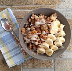 Whole30 Breakfast Bowl, blue napkin and spoon