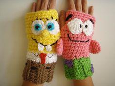Sponge Bob and Patrick Fingerless Gloves @Craftsy 6.99
