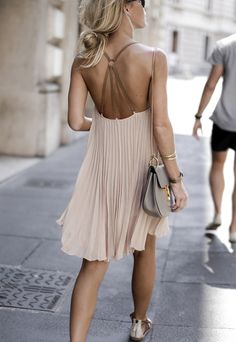 justthedesign:  Backless dresses are always a must, especially when they're the perfect shade of blush pink! Via happilygreyDress: BCBG, Sandals: Koolaburra, Bag: Chloe  www.fashionclue.net | Fashion Tumblr, Street Wear & Outfits