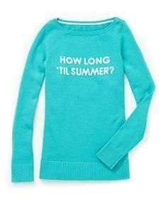 """Lilly Pulitzer Marielle Sweater in Aqua """"How Long 'Til Summer"""" Intarsia"""