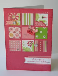 card by Tina Lovell.... the addition of a few embellies on the squares make all the difference!