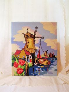 Windmill Picture, Columbia Minerva 1560, Finished Needlepoint, Tulips, Sailing…