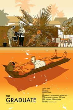 "Mondo will release this beautiful poster for The Graduate by Tomer Hanuka later today. It's a 24"" x 36"" screenprint, has an edition of 250, and will cost $45. T"