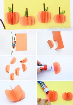 These construction paper pumpkins are so fun for fall or Halloween and so easy to make! Learn how to make your own 3D paper pumpkin that pops off the page!