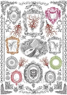 Calambour Mulberry paper for découpage and decoration. Pattern: corals, frames, notes, mandolin, music instruments, angels, ornaments, marquetries, subjects, baroque.