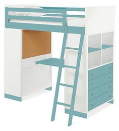 My little artist would love this! Lots of storage for her supplies and a desk too! Moda Loft Beds with Desk & Dresser Options - Bunks & Lofts - Kids - Room & Board