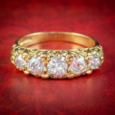 VINTAGE FIVE STONE DIAMOND RING 18CT GOLD 1.86CT OF DIAMOND cover