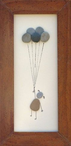 "Beach Pebble Art Stone Pictures ""Up, Up and Away"" --rock art on Etsy Stone Crafts, Rock Crafts, Diy And Crafts, Arts And Crafts, Beach Rocks Crafts, Caillou Roche, Art Rupestre, Art Pierre, Pebble Pictures"