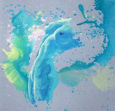 Blue sigh 4, 90 x 90 cm, akryl na płótnie. www.amonaria.com.pl
