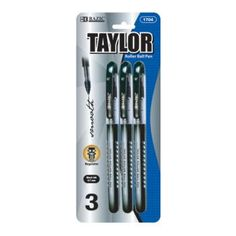 BAZIC Taylor Black Color Rollerball Pen (3/Pack) Case Pack 24
